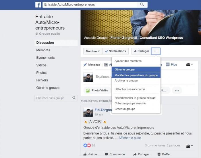 Créer et configurer un groupe facebook