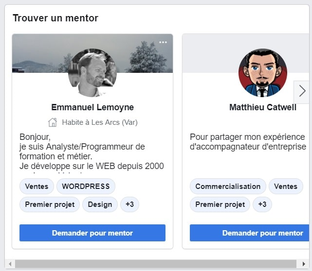 Mentorat groupe Facebook