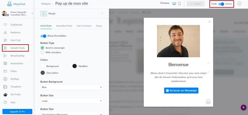 Tuto installer une chatbot Facebook avec manychat14-min